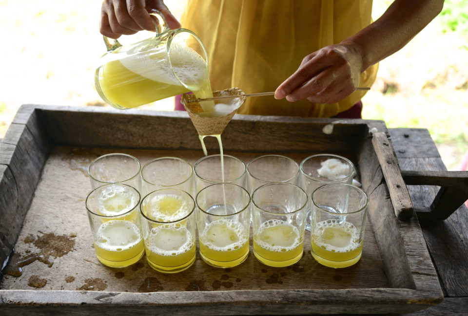 Fresh squeezed sugar cane juice.
